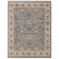 Hand-knotted Faith Grey/ Beige New Zealand Wool Rug (10' x 14') - 10' x 14'
