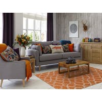 Hand-tufted Corpus Christi Orange New Zealand Wool and Art Silk Rug (7'6 x 9'6) - 7'6 x 9'6