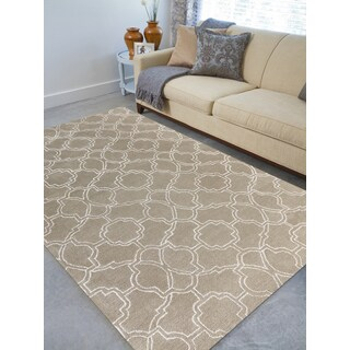 Hand-tufted Corpus Christi Sand New Zealand Wool and Art Silk Rug (7'6 x 9'6)