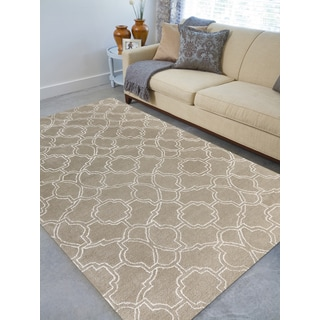 Hand-tufted Corpus Christi Sand New Zealand Wool and Art Silk Rug (8'6 x 11'6)
