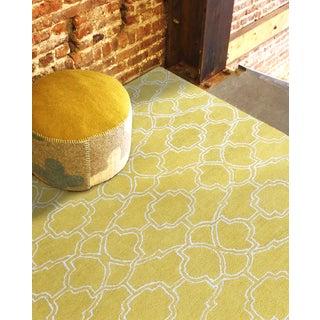 Hand-tufted Corpus Christi Yellow New Zealand Wool and Art Silk Rug (7'6 x 9'6)