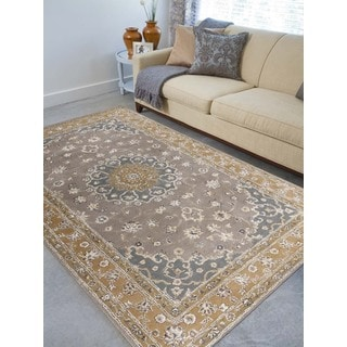 Hand-tufted Twilight Grey/ Gold New Zealand Wool and Art Silk Rug (7'6 x 9'6)