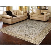 Hand-tufted Twilight Ivory/ Gold New Zealand Wool and Art Silk Rug - 8' x 11'