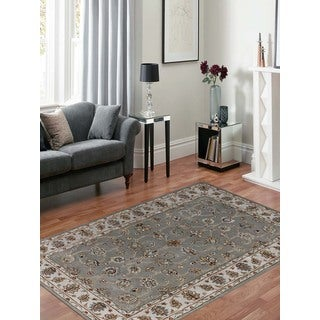 Hand-tufted Twilight Silver/ Sand New Zealand Wool and Art Silk Rug (7'6 x 9'6)