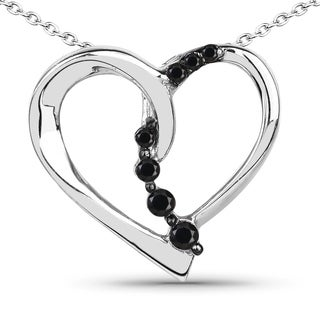 Malaika Sterling Silver 1/2ct TDW Black Diamond Pendant (I-J, I2-I3)