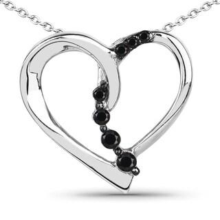 Malaika Sterling Silver 1/2ct TDW Black Diamond Pendant