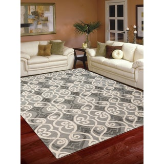 Hand-tufted Salome Grey New Zealand Wool and Embossed Art Silk Rug (7'6 x 9'6)