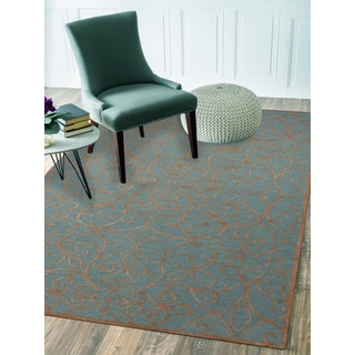 Hand-tufted Salome Forest Blue New Zealand Wool and Embossed Art Silk Rug (8' x 11')