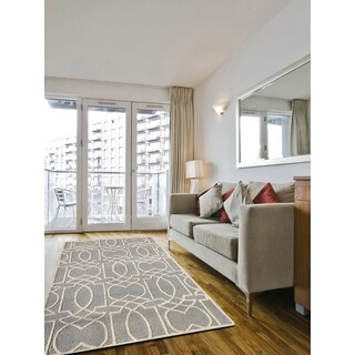 Hand-tufted Salome Ivory/ Platinum New Zealand Wool and Embossed Art Silk Rug (8' x 11')