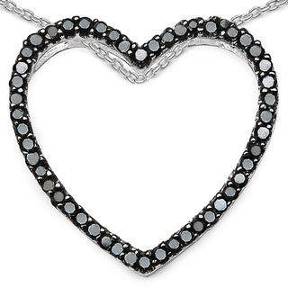 Malaika Sterling Silver 3/8ct TDW Black Diamond Pendant (I-J, I2-I3)