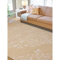 Hand-knotted Abner Beige Wool and Art Silk Rug - 3'6 x 5'6