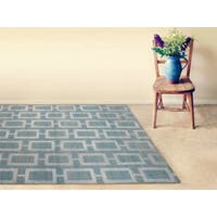 Hand-knotted Abner Steel Blue Wool and Art Silk Rug - 3'6 x 5'6'