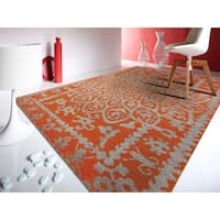 Hand-knotted Abner Orange Wool and Art Silk Rug - 3'6 x 5'6