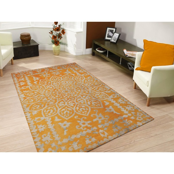 Hand-knotted Abner Yellow Wool and Art Silk Rug - 3'6 x 5'6
