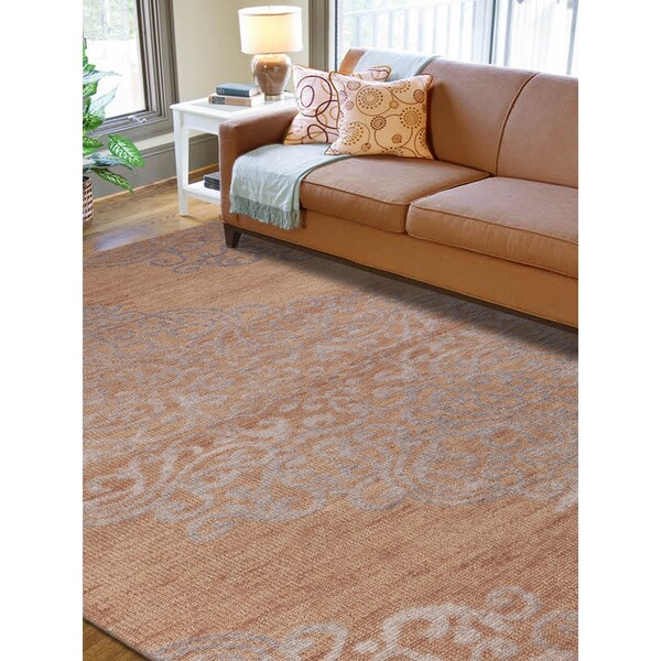 Hand-knotted Abner Sand Wool and Art Silk Rug (3'6 x 5'6)