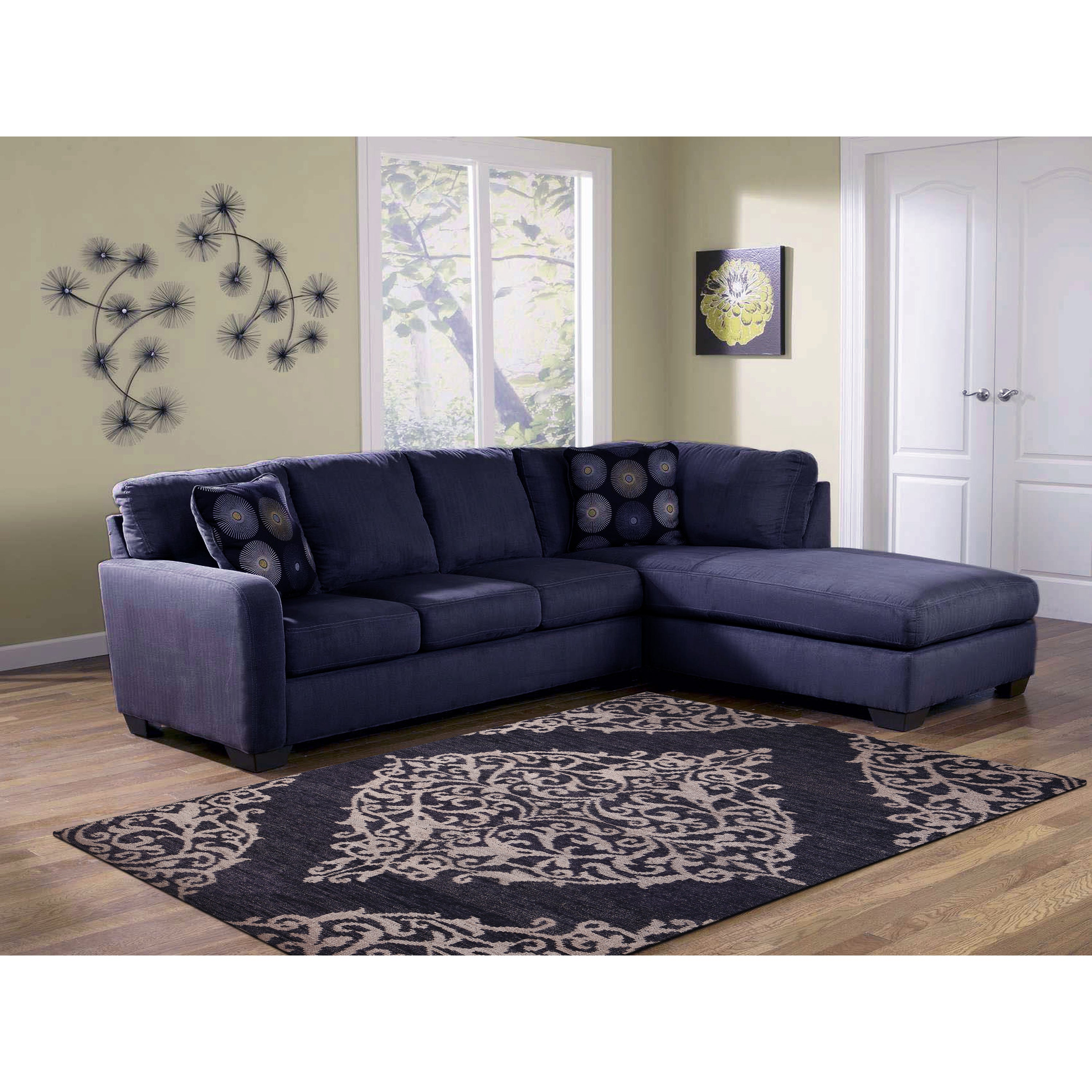 Hand-knotted Abner Navy (Blue) Wool and Art Silk Rug (2 x...