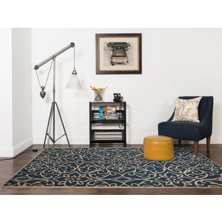 Hand-tufted Salome Navy New Zealand Wool and Embossed Art Silk Rug (5' x 8')