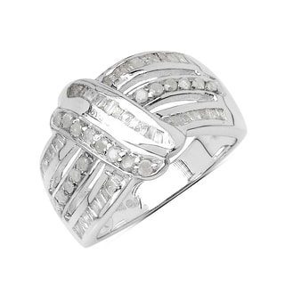 Olivia Leone Sterling Silver 5/8ct TDW White Diamond Ring (I-J, I2-I3)