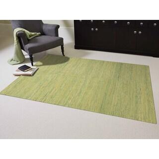 Hand-woven Menlo Park Sage Green Saree Silk Rug (3' x 5')