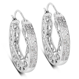 Olivia Leone 0.54 Carat Genuine White Diamond .925 Sterling Silver Earrings