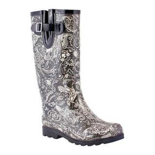 Women's Nomad Puddles Boot Black/White Paisley