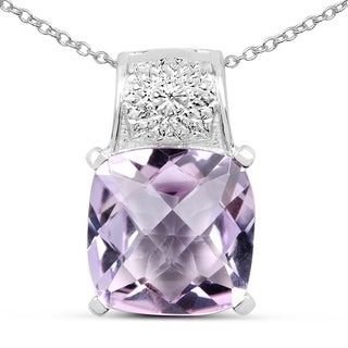 Olivia Leone Sterling Silver 5 1/3ct TGW Pink Amethyst Pendant