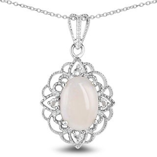 Olivia Leone Sterling Silver 3 1/2ct TGW Opal and White Topaz Pendant