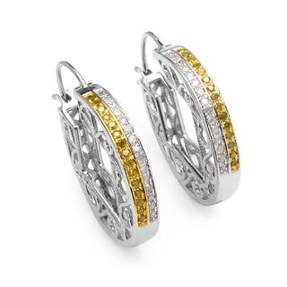 Olivia Leone Sterling Silver 1/4ct TDW Yellow Diamond Earrings (I-J, I2-I3)