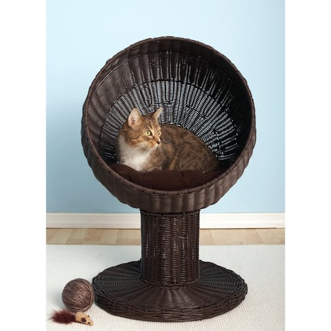 The Refined Feline's Kitty Ball Cat Bed in Espresso (As Is Item)