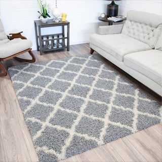 Sweet Home Cozy Shag Collection Trellis Design Shaggy Area Rug (5' x 7')