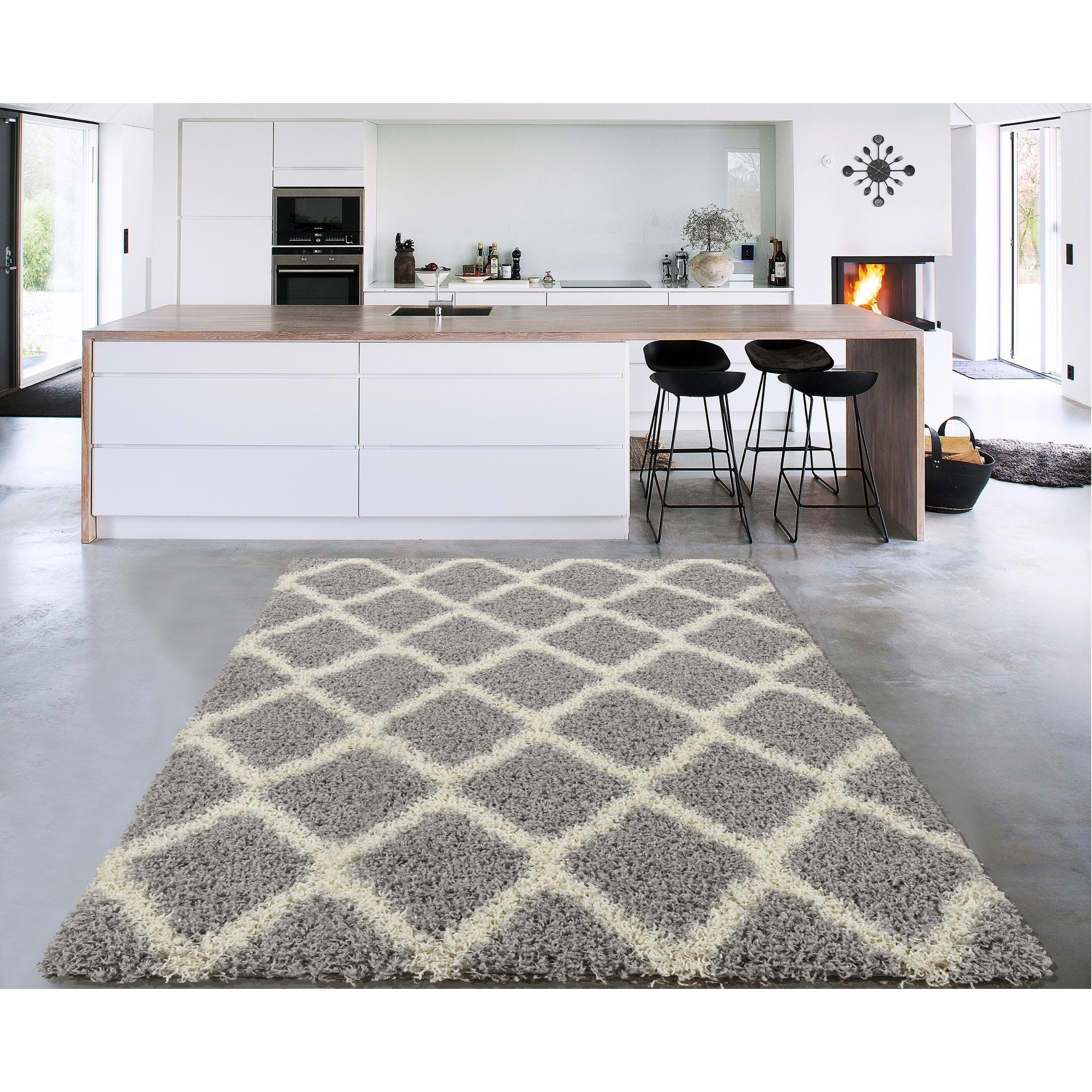 Sweet Home Stores Cozy Shag Trellis Design Shag Rug (3' x...