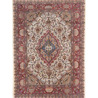 ecarpetgallery Hand Knotted Persian Kashmar Beige/ Brown Wool Rug (8'1 x 11'3)