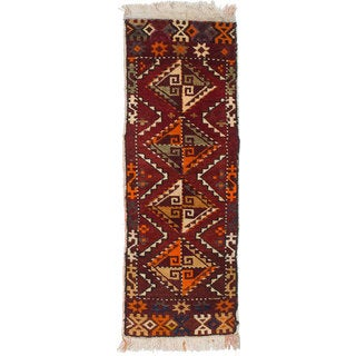 Ecarpetgallery Hand-knotted Persian Shiraz Qashqai Orange Wool Rug (1'4 x 3'9)