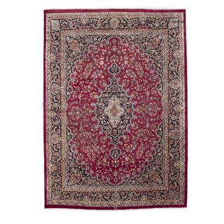 ecarpetgallery Hand Knotted Persian Mashad Red Wool Rug (9'10 x 13'0)