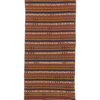 ecarpetgallery Hand Knotted Persian Qashqai Blue/ Orange Wool Sumak (5'7 x 11'9)