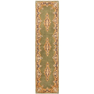 ecarpetgallery Hand Knotted Persian Kerman Green Wool Rug (2'5 x 9'10)