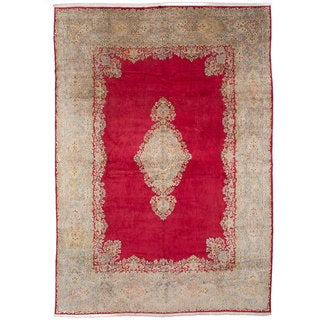 ecarpetgallery Hand Knotted Persian Kerman Red Wool Rug (11'5 x 16'1)