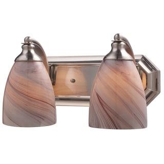 Elk Bath and Spa 2-light LED Vanity in Satin Nickel and Crme Glass