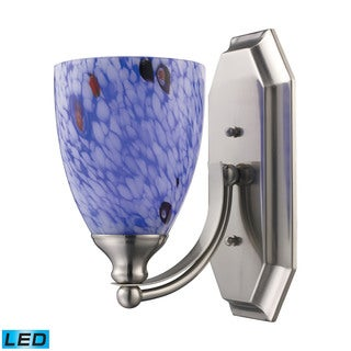 Elk Bath and Spa 1-light LED Vanity in Satin Nickel and Starburst Blue Glass