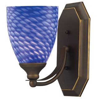 Elk Bath and Spa 1-light LED Vanity in Aged Bronze and Sapphire Glass