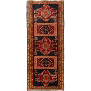 ecarpetgallery Hand Knotted Persian Ardabil Blue/ Red Wool Rug (4'5 x 10'4)