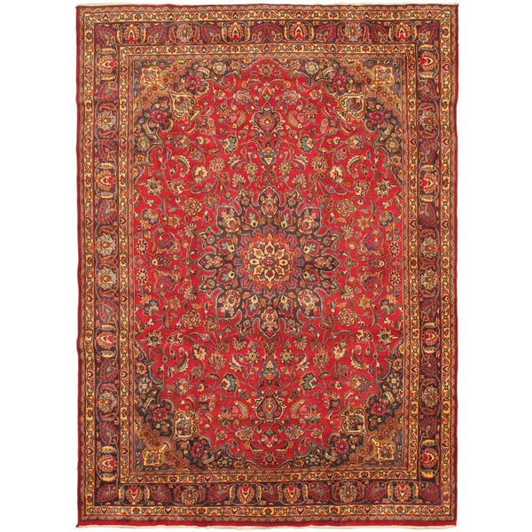 Shop Ecarpetgallery Hand Knotted Persian Kashan Red Wool: Shop Ecarpetgallery Hand Knotted Persian Mashad Blue/ Red
