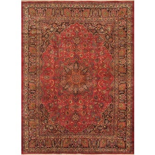 ecarpetgallery Hand Knotted Persian Mashad Blue/ Red Wool Rug (9'6 x 12'11)
