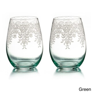 Lace Stemless Glasses (Set of 2) (Option: Lace Green)