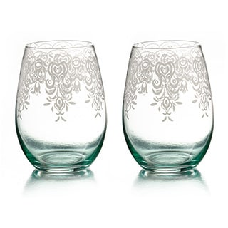 Lace Stemless Glasses (Set of 2)