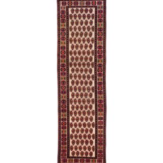 ecarpetgallery Hand Knotted Persian Afshar Beige/ Red Wool Rug (3'3 x 10'11)