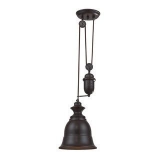 Elk Farmhouse 1-light Adjustable Pendant in Oiled Bronze