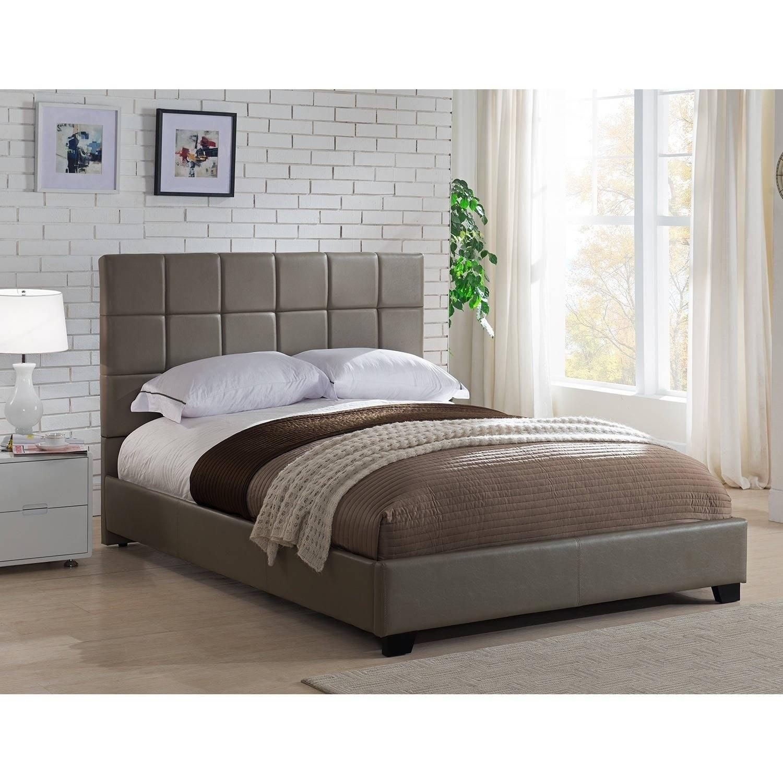 Kenville King Size Taupe Leather Platform Bed