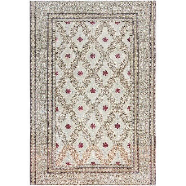 ecarpetgallery Hand Knotted Persian Yazd Beige Wool Rug (7'4 x 10'9)