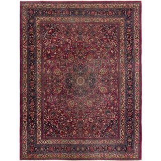 ecarpetgallery Hand Knotted Persian Mashad Red Wool Rug (8'9 x 11'6)